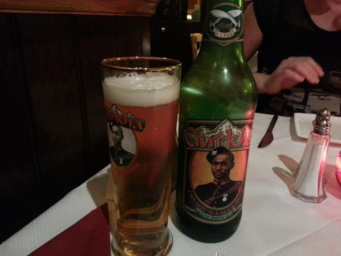 ghurka beer at the Britannia restaurant