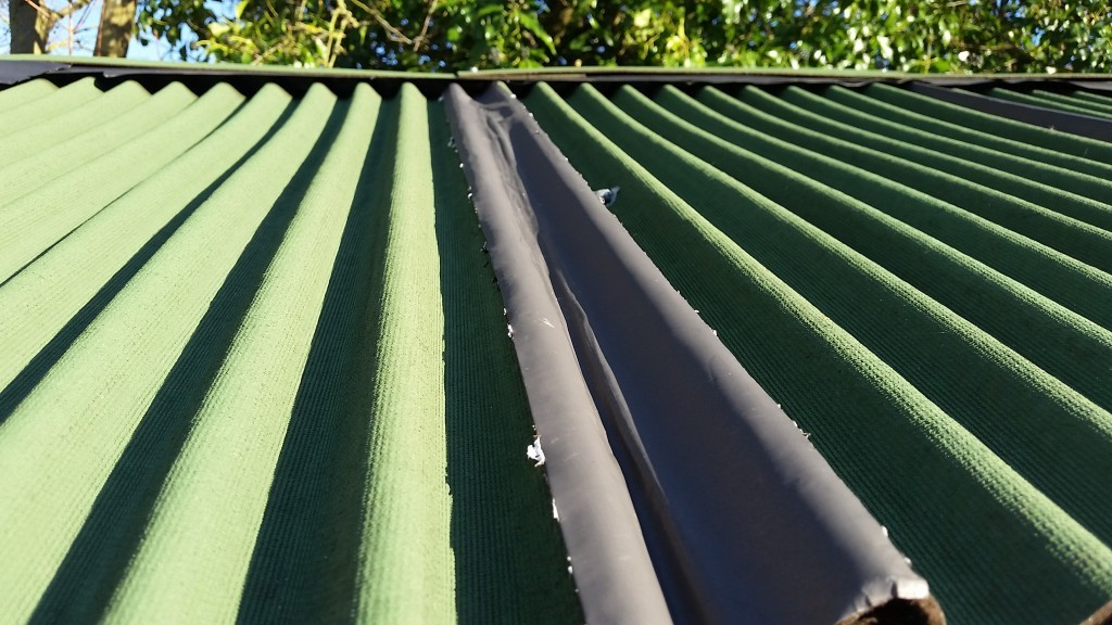 Bitumen strips over the joints of the roofing will help the roof remain watertight for many years to come. You can even do this with a felt roof.