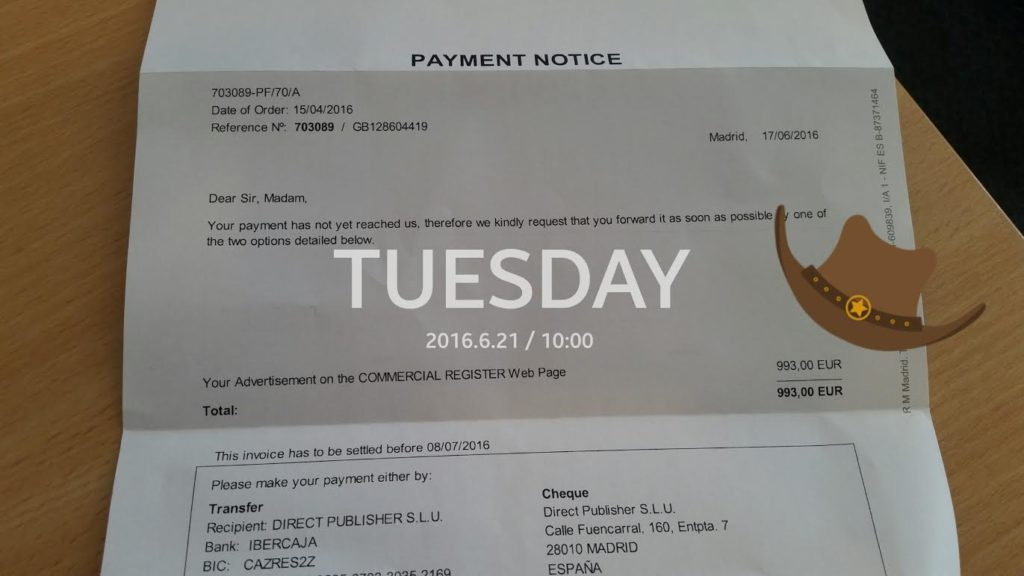 A copy of the payment reminder from Commercial Register