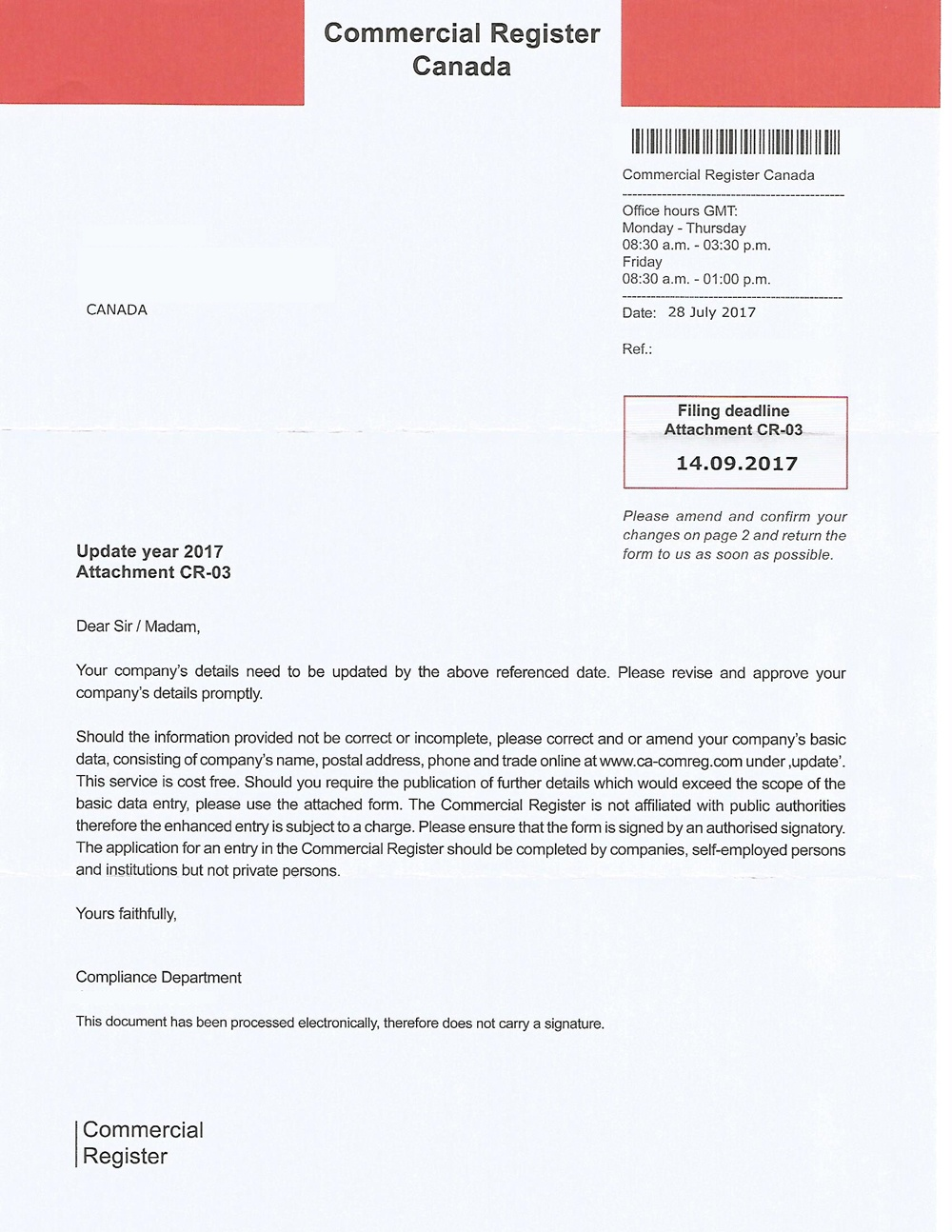 Commercial Register Canada letter