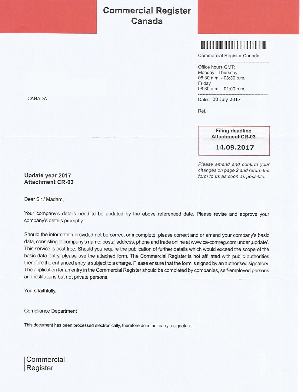 Commercial Register Canada letter